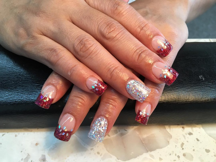 red and silver glitter solar nails