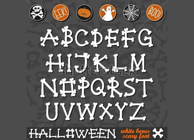 Halloween White Bones Scary Font