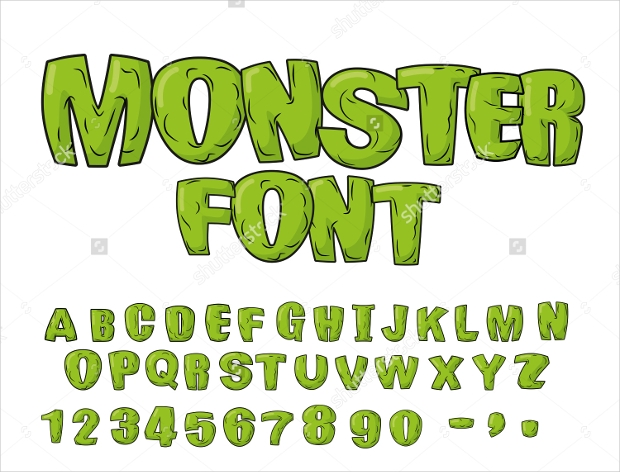 Monsters Cartoon Vector Font