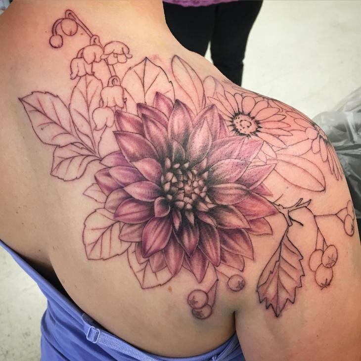 dahlia shoulder tattoo