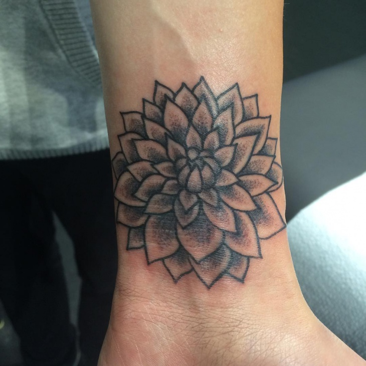 Black and Grey Dahlia Tattoo