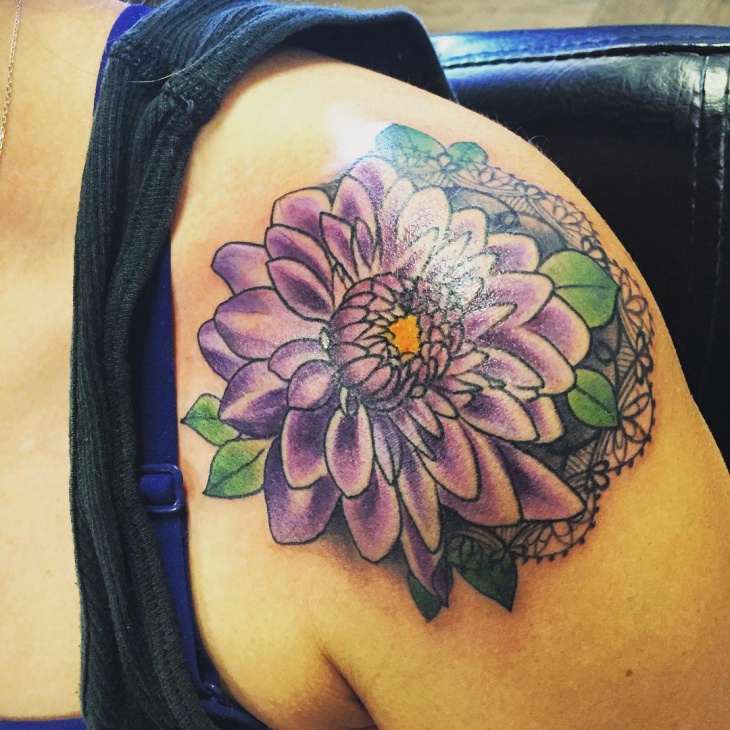 Purple Dahlia Tattoo Design