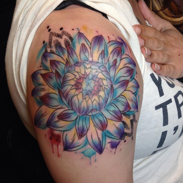 colorful dahlia tattoo