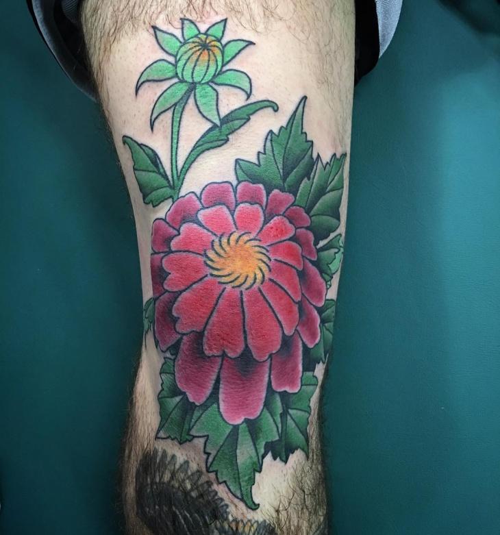 dahlia tattoo on knee