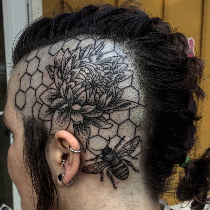 Dahlia Head Tattoo Design