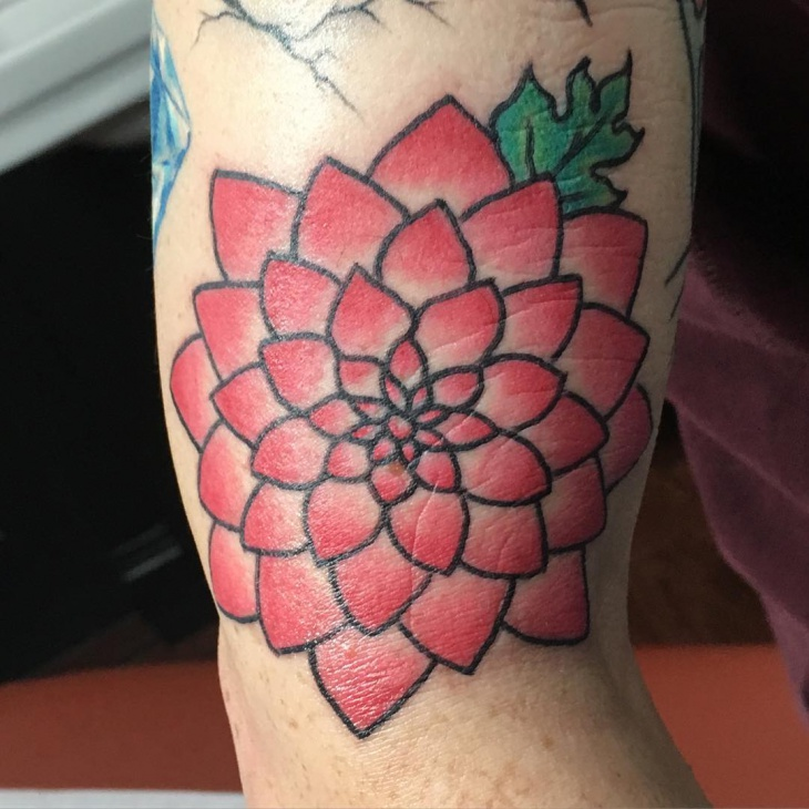 traditional dahlia tattoo