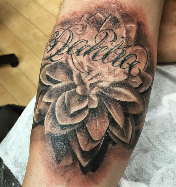 Unique Dahlia Flower Tattoo
