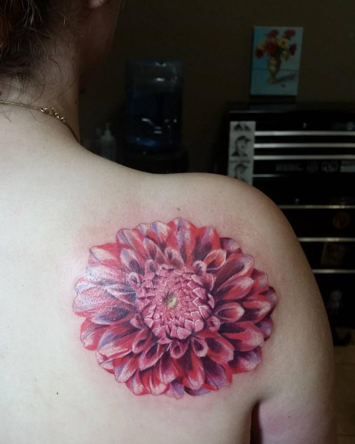red and white dahlia tattoo