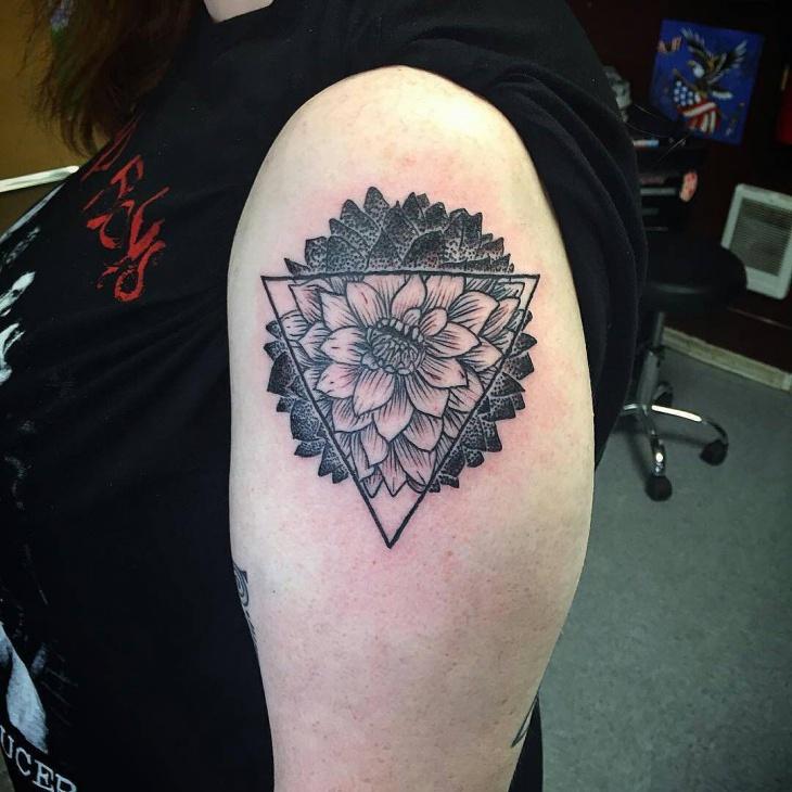 neo traditional dahlia shoulder tattoo