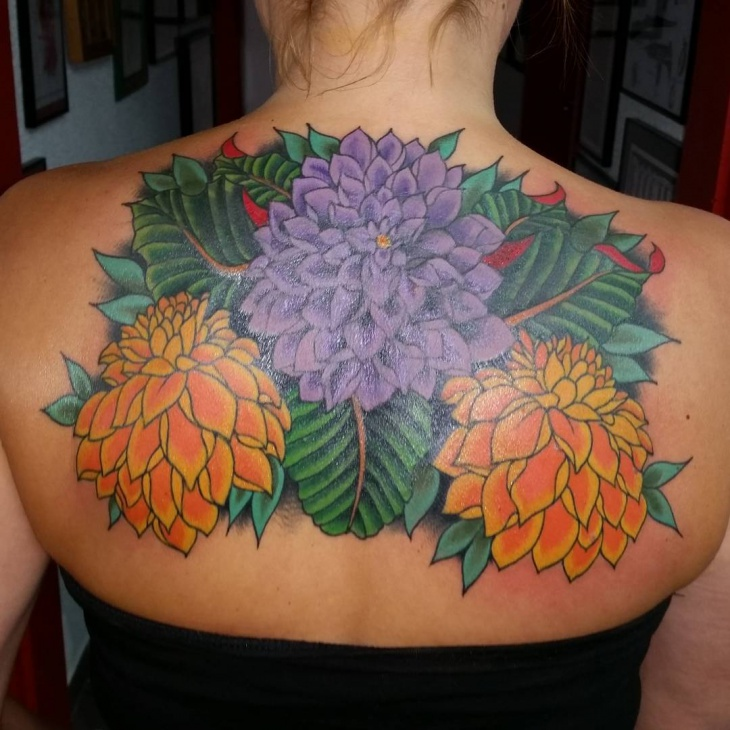 Dahlia Tattoo on Back