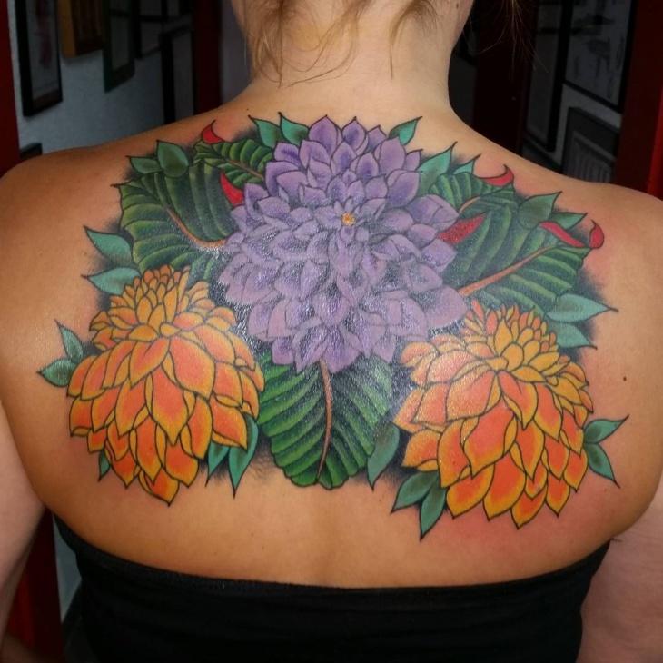 dahlia tattoo on back