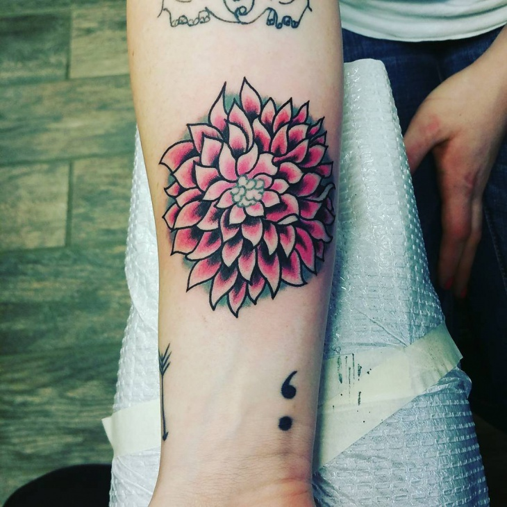Beautiful Dahlia Tattoo Design