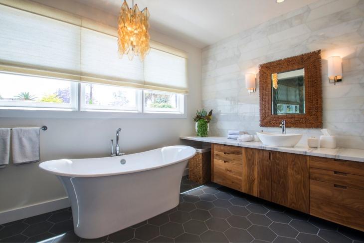 geometric bathroom floor tiles