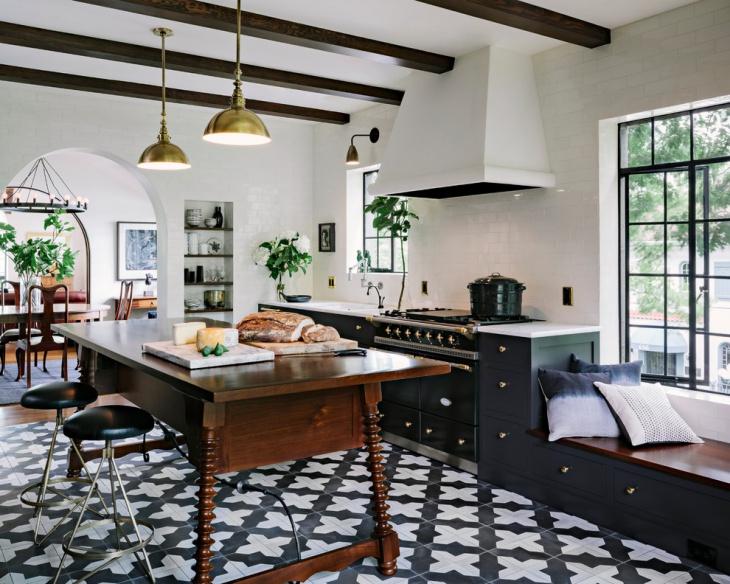 kitchen geometric floor tiles