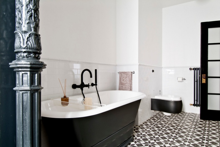 White Wall with Geometric Floor Tiles