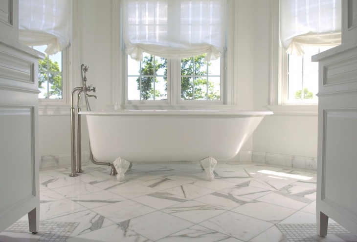 white texture geometri flooring bathtub