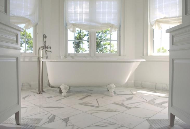 white texture geometri flooring bathtub