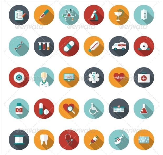 set of medical icons in flat style