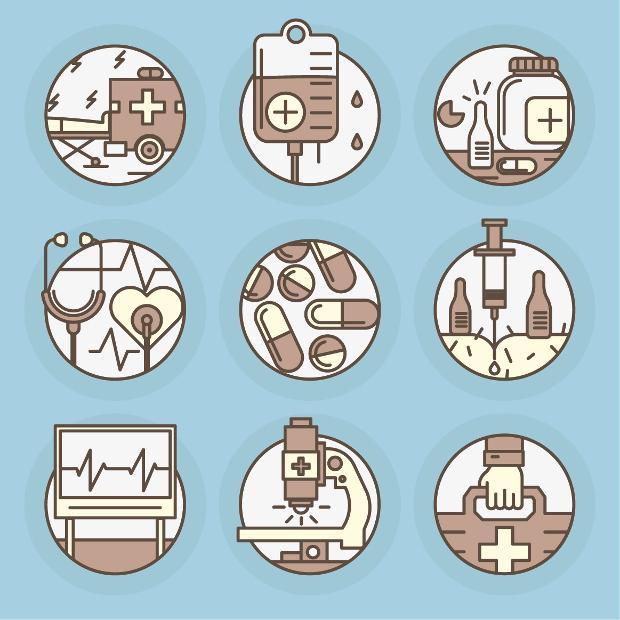 modern flat medical icons