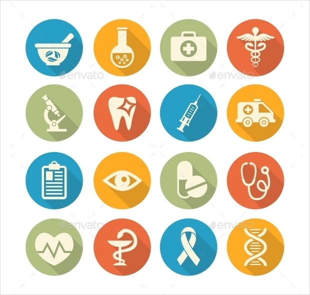 colorful round medical icons