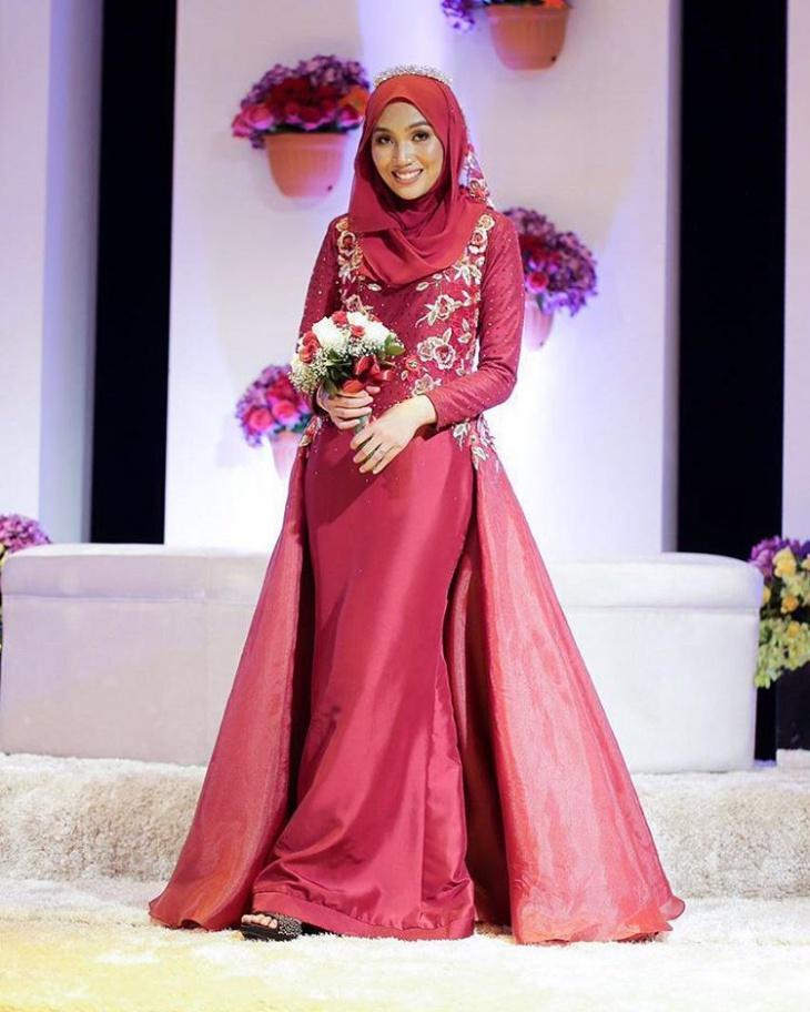 red organdy wedding dress