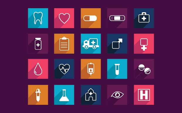 Medical Long Shadow Flat Icons