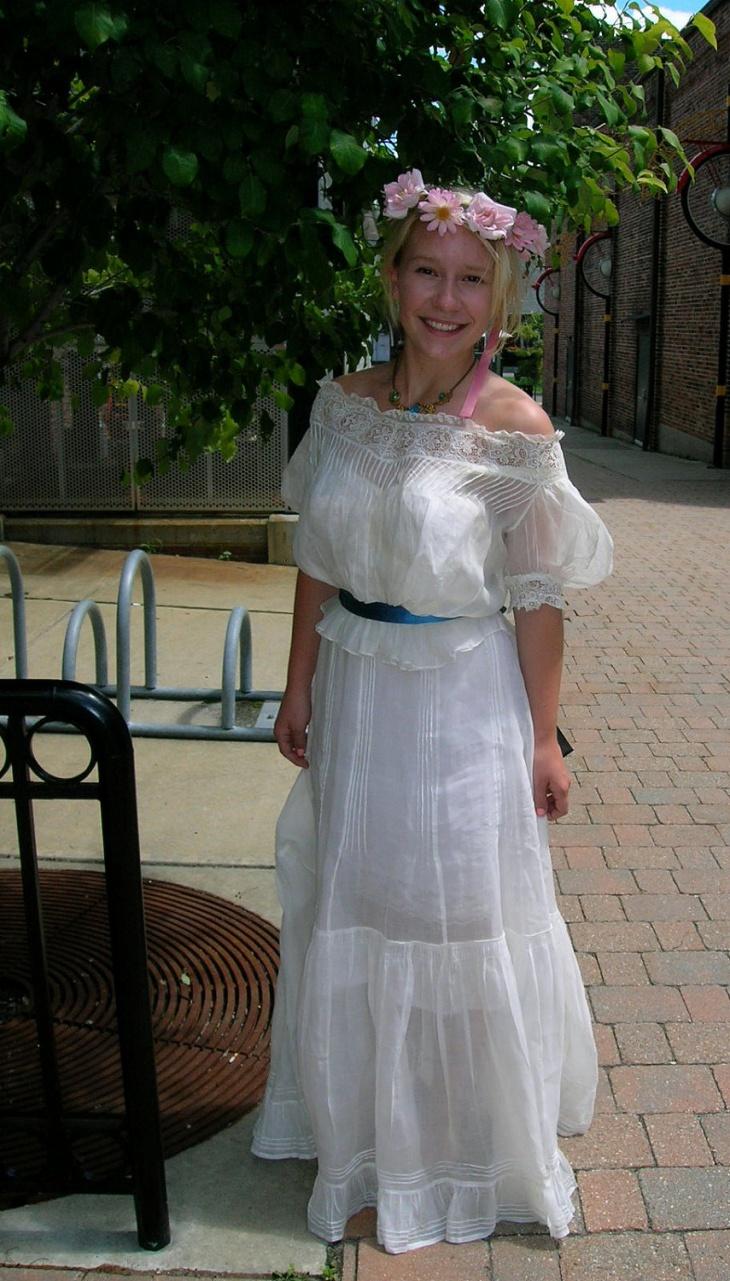 long white organdy dress