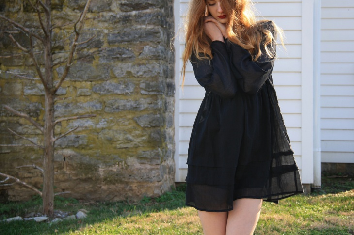 black organdy dress design