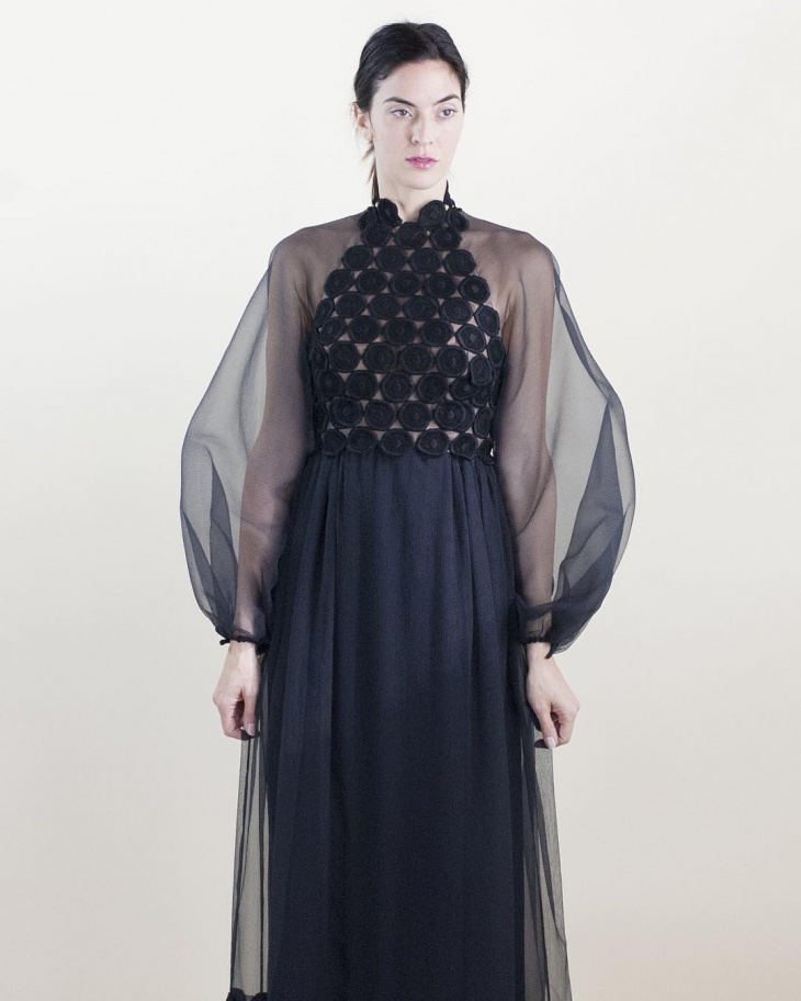 Black Organdy Full Sleeves Dress