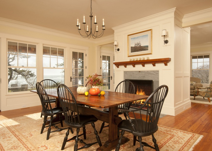 16 dining room fireplace designs ideas design trends for Traditional dining room fireplace