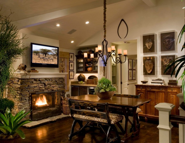 dining room faux fireplace