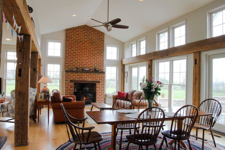 Dining Room Brick Fireplace