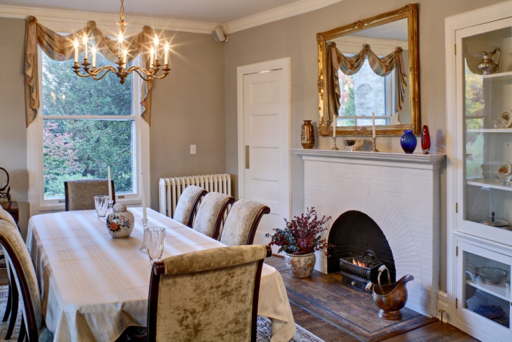 Traditional Dining Room Fireplace