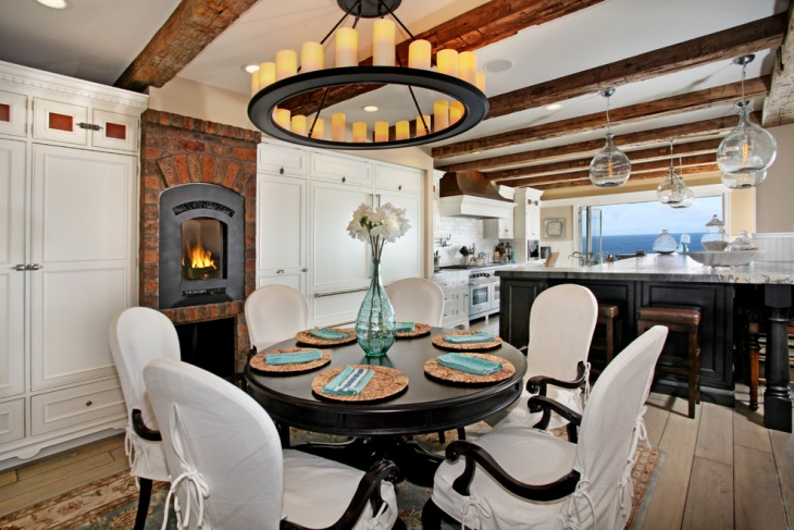 White Chair Dining Room with Fireplace