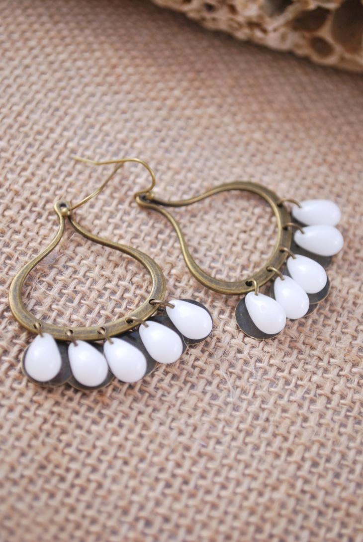 White Drop Beads Earrings