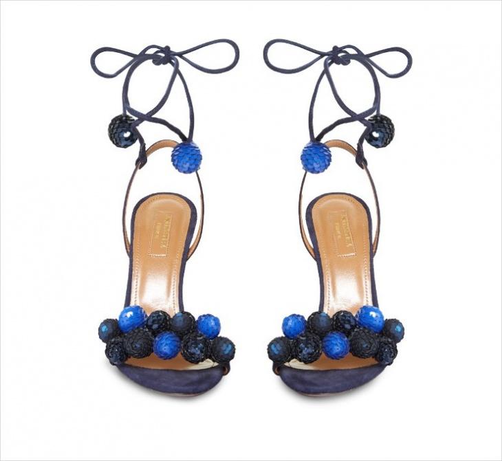 aquazzura pom pom heels