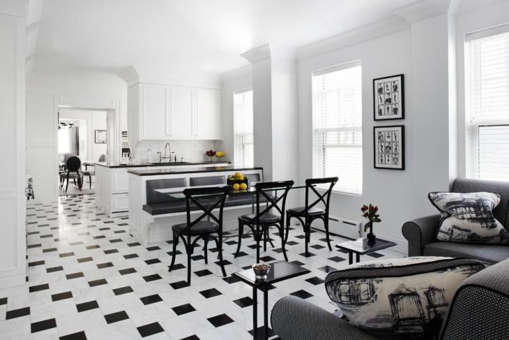 black and white interior flooring