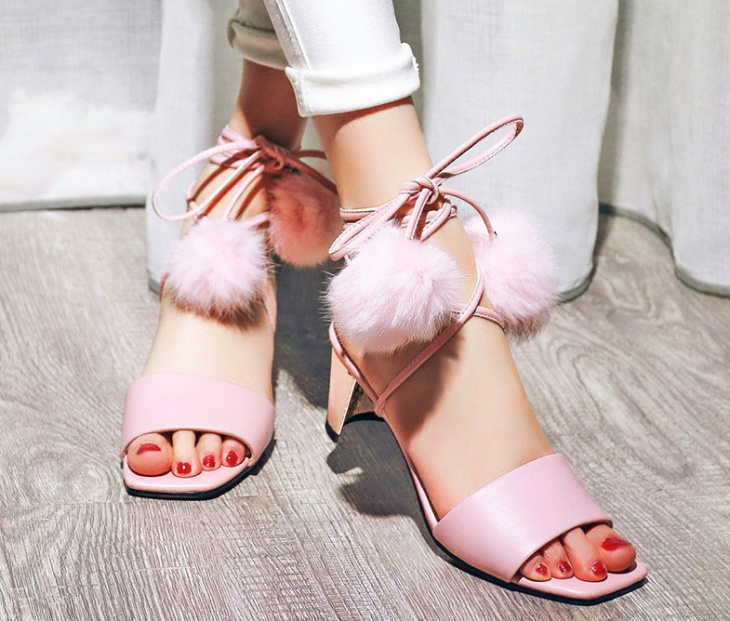 Light Pink Pom Pom Sandals