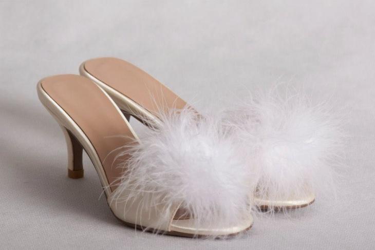 open toe pom pom heels