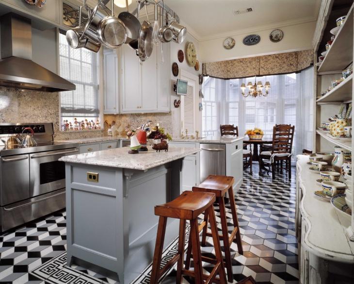 geometric flooring pattern