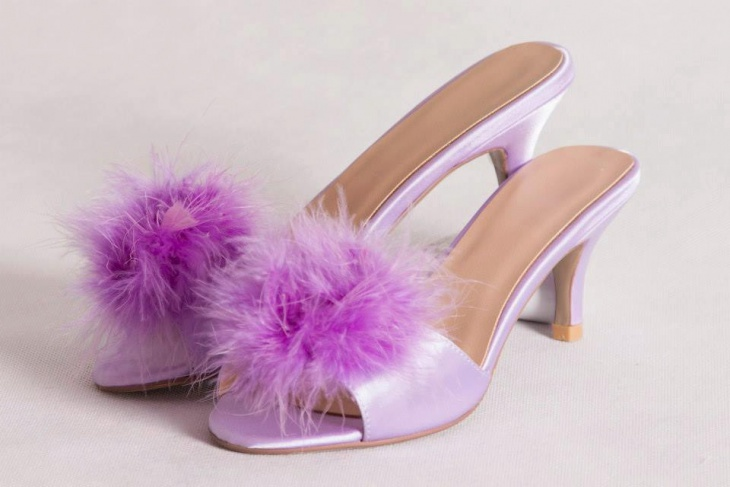 Purple Color Pom Pom Sandals