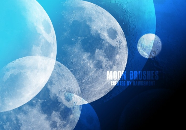 high res moon photoshop brush set