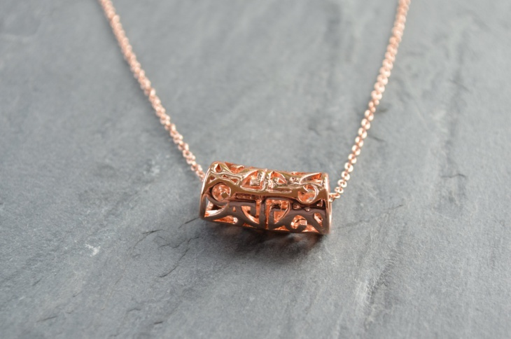 Rose Gold Cylinder Pendant Necklace