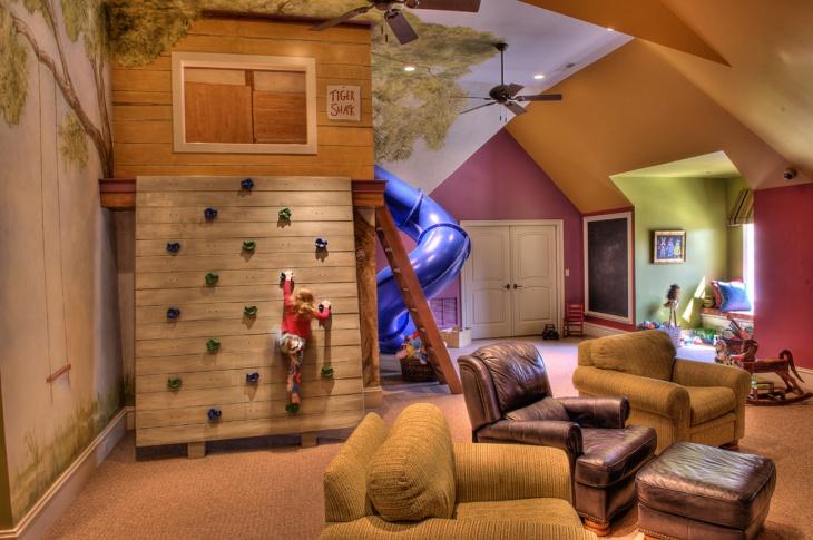 climbing wall playing room
