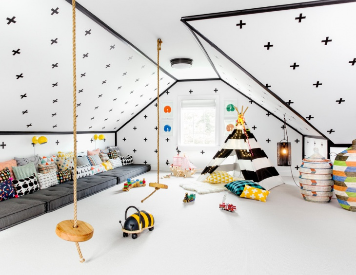 white playingroom with small tent