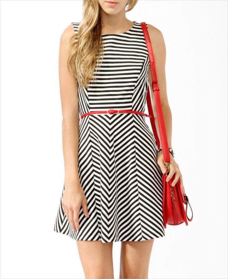 black and white nautical dress
