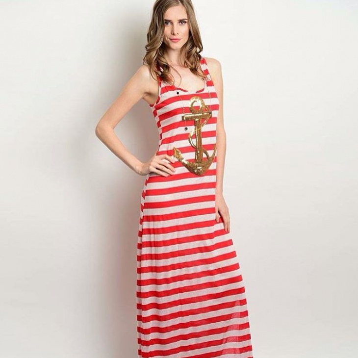 red and white nautical dress