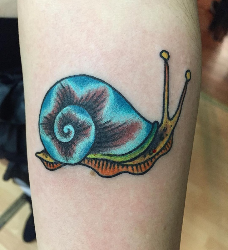 Colorful Snail Tattoo