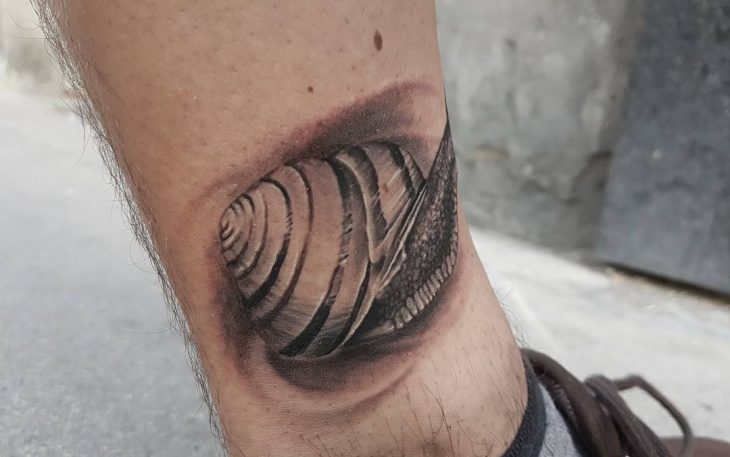 Black and Grey Snail Tattoo