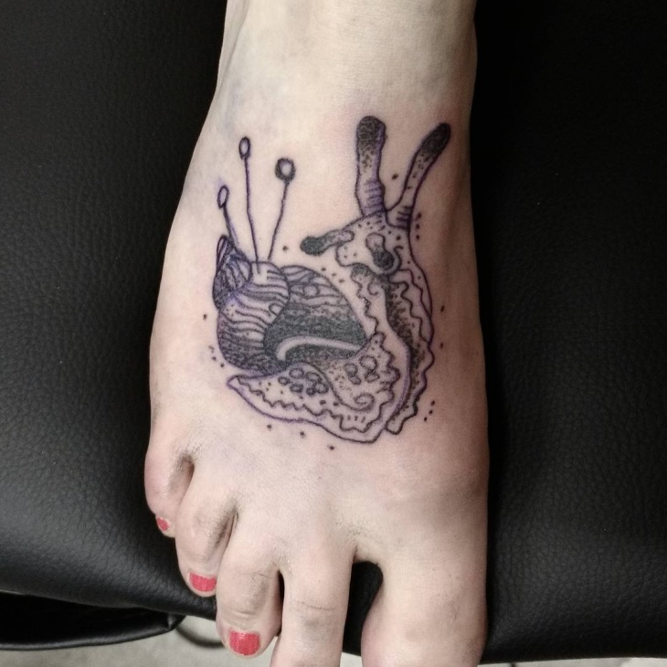 Snail Tattoo on Foot